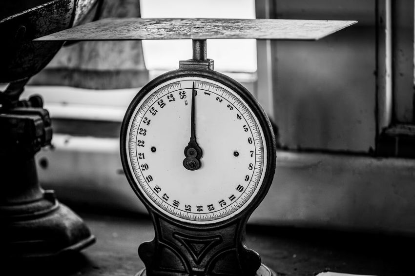Vintage postage scale in black and white Retro Scale  Black And White Close-up Closeup Day Focus On Foreground Gauge Indoors  Instrument Of Measurement Meter - Instrument Of Measurement No People Old Postage Pressure Gauge Scales Vintage