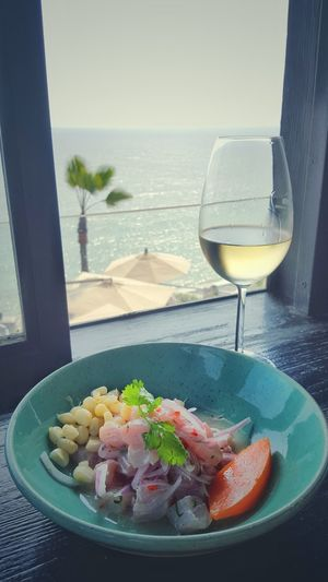 White Wine Sea Ceviche Salsa Criolla Giant Corn Lima-Perú Lima Peru Peruvian Peruvianfood LarcoMar  Palm Trees Palms Food Lunch Tradicional Portrait Sweet Potatoes Charella Catch Of The Day Sweet Potato Lime Chilli Wine Wine Time