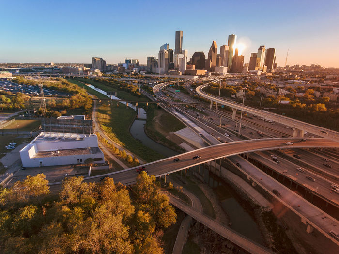 My favorite skyline. Aerial View Drone  Architecture Bridge - Man Made Structure Building Exterior Built Structure City Cityscape Clear Sky Connection Dronephotography High Angle View Highway Landscape Modern Multiple Lane Highway Office Building Exterior Outdoors Real Estate Road Sky Skyscraper Transportation
