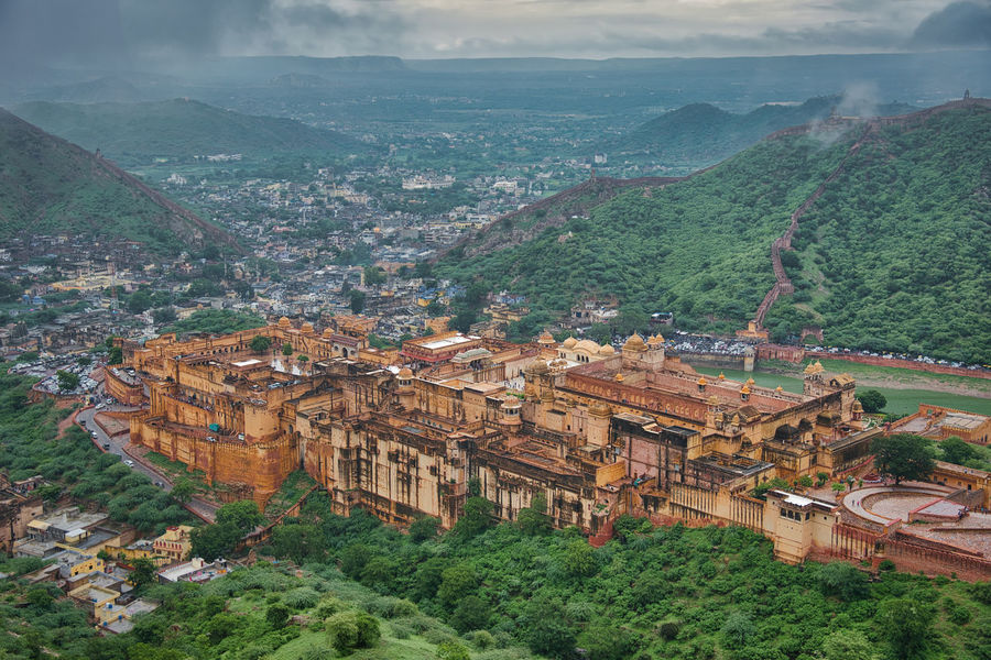 High angle view of heritage site Amber Architecture Jaipur Trees Amber Fort Amber Fort Jaipur Building Clouds Fog Heritage Heritage Building Heritage Site High Angle View Mountain Outdoors Scenics Sky