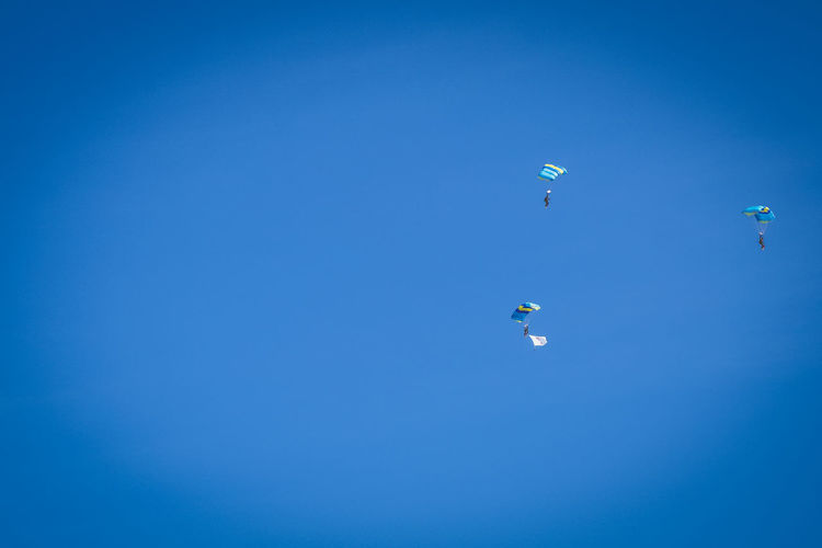 Paratroopers display at air show festival. Event Parachutes Sky And Clouds Soldier Textured  Airborne Army Blue Clear Sky Combat Day Extreme Sports Festival Flying Low Angle View Mid-air Minimalism Outdoors Parachute Paragliding Paratroopers Sky Sport Training Trooper