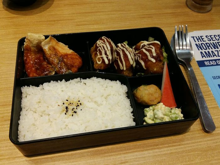 Bento Chicken Fried Salmon Crab Rice Japanese Food Delicious Yummy Dinner Date Babe At Bangi Malaysia