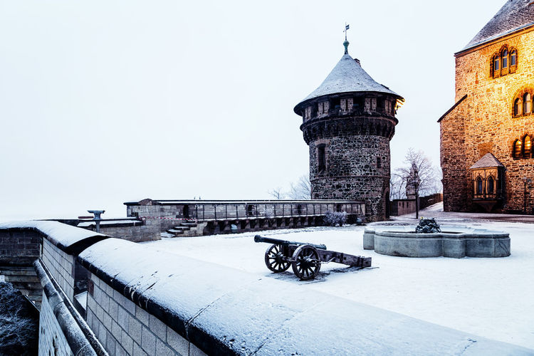 Built Structure Architecture Building Exterior Building Sky Religion Place Of Worship Nature Spirituality No People Day Belief Outdoors Winter Cold Temperature Copy Space Snow Wall - Building Feature Cannon Wernigerode Harz Harzmountains Winter