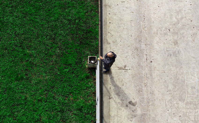 High angle view of camera on field