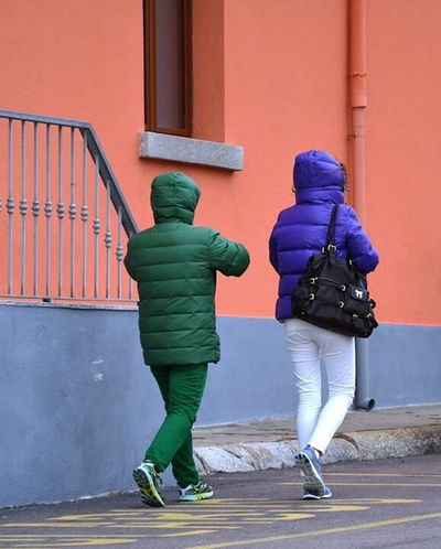 EyeEmNewHere Two People Green Color Real People People Green Purple Color Purple Colors Wonderfulcolors Outdoors EyeEm Colorful! EyeEm Full Length Road Togetherness Rear View Day Adult Walking EyeEmNewHere EyeEm Diversity EyeEm Diversity