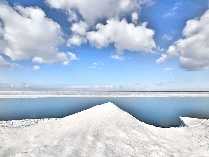 Snow Winter Water Sky Cloud - Sky Beauty In Nature Scenics - Nature Tranquility Tranquil Scene Nature Horizon Idyllic