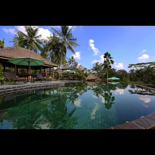 Architecture Bali Beautiful Nature Beauty In Nature Building Exterior Cloud - Sky Nature Outdoors Palm Tree Reflection Resort Scenics Standing Water Tourism Tranquil Scene Tranquility Tree Vacations Villa Water