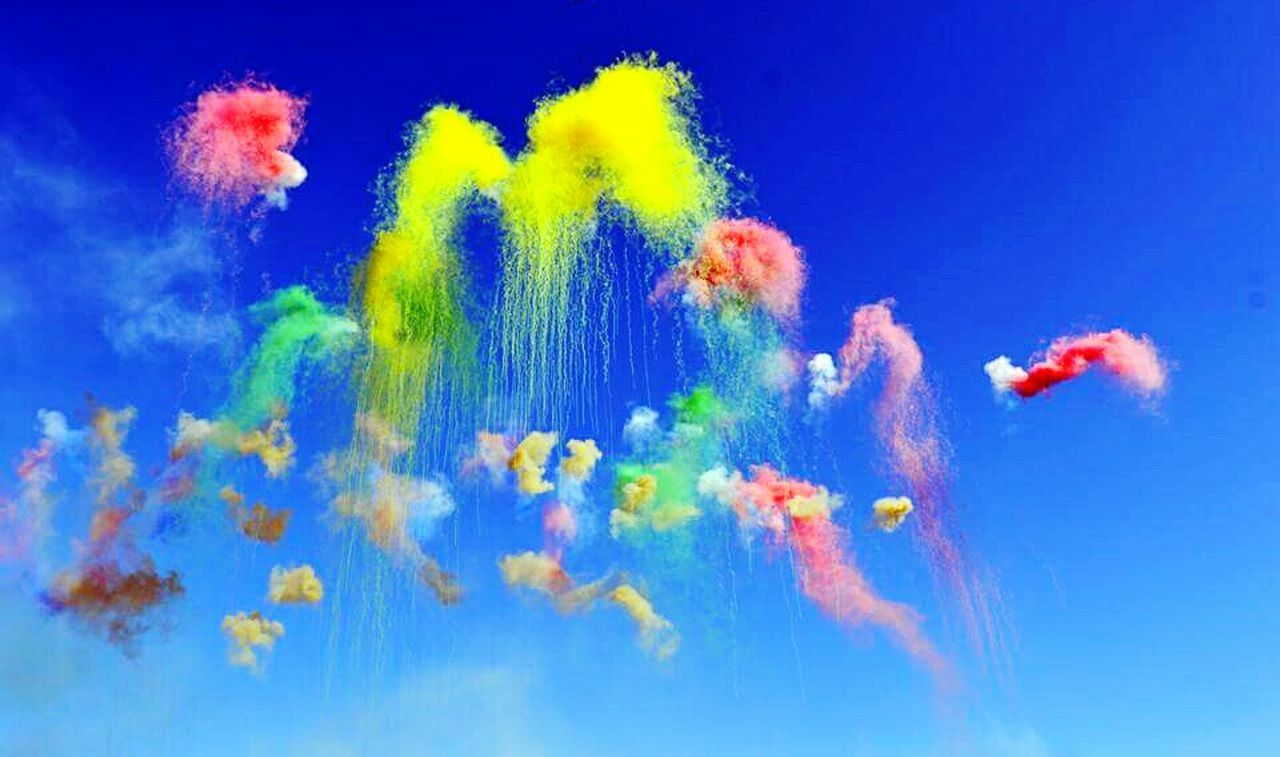blue, motion, multi colored, mid-air, exploding, vitality, yellow, red, cloud - sky, studio shot, no people, sky