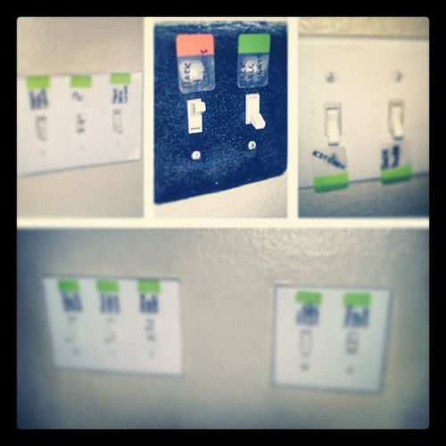 Since we have eleventy billion light switches and terrible memories, I labeled them. Toomanylights Organized Hashtags