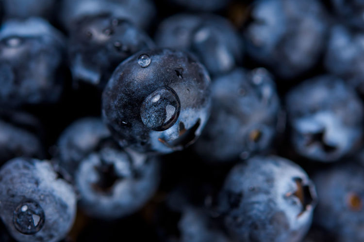 Fresh ripe blueberries with drops of dew. berry background. macro photo