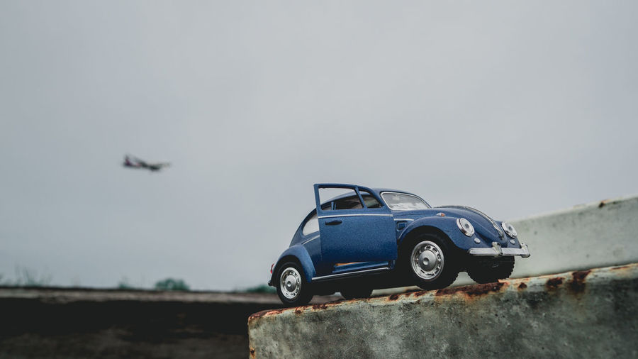 Vintage car against sky