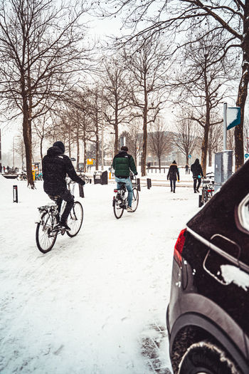 Bicycles on road in winter