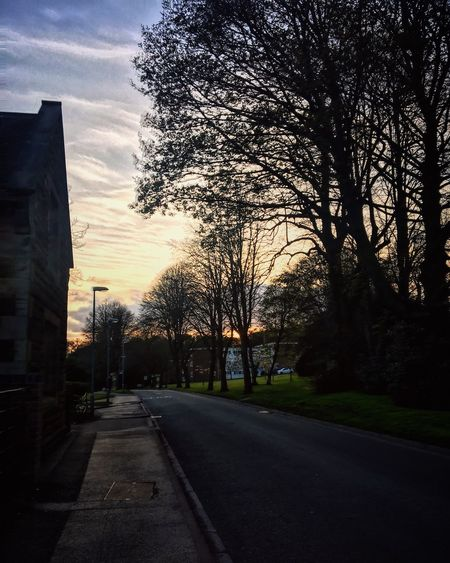 Tree Sunset The Way Forward Architecture Road Diminishing Perspective Sky Cloud Outdoors Vanishing Point Tranquility Tranquil Scene Surface Level Nature Walking Around Student Life