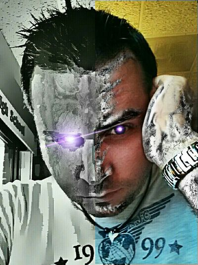 Titled: Man consumed by technology or (Man becomes machine) Immortal My Art Self Portrait High Tech