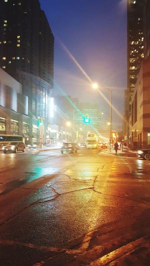 Colors of Toronto City Colors Toronto Canada Winter Night Wet City Illuminated City Street Car Outdoors Building Exterior Street No People Cityscape