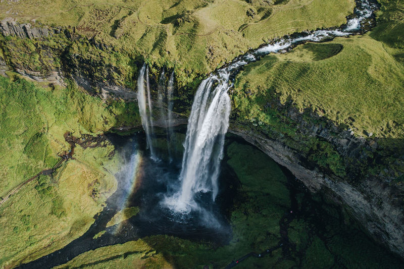 Seljalandsfoss waterfall, Iceland Iceland Landscape Nature North Wild Aerial View Aerial Dronephotography Landmark Arctic Waterfall Powerful Cascade Stream Seljalandsfoss Freshness Fresh Power In Nature Iconic Water Flowing Water Moss Environment Clean EyeEmNewHere