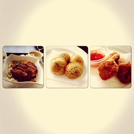 炸蝦球+紅豆麻糬+炸豬排甜日式咖喱烏東麵