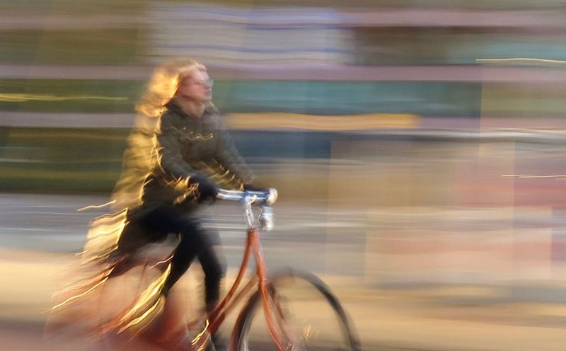 Bicycle Blurred Motion City Life Day Mode Of Transport Motion On The Move Riding Transportation Travel