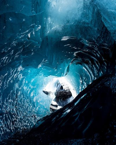 into the Glacier Iceland Nature Travel Cold Temperature Frozen Glacier Ice Landscape No People Outdoors Snow Tranquility Travel Destinations Go Higher