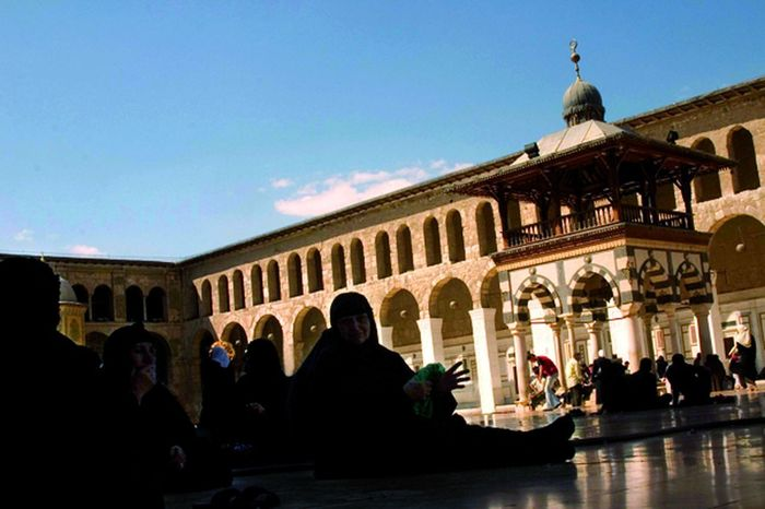 Women Gathering in the Mosque Architecture Damascus  Middle East Syria  Abaya Hijab Middle Eastern Woman Mosque Women Around The World