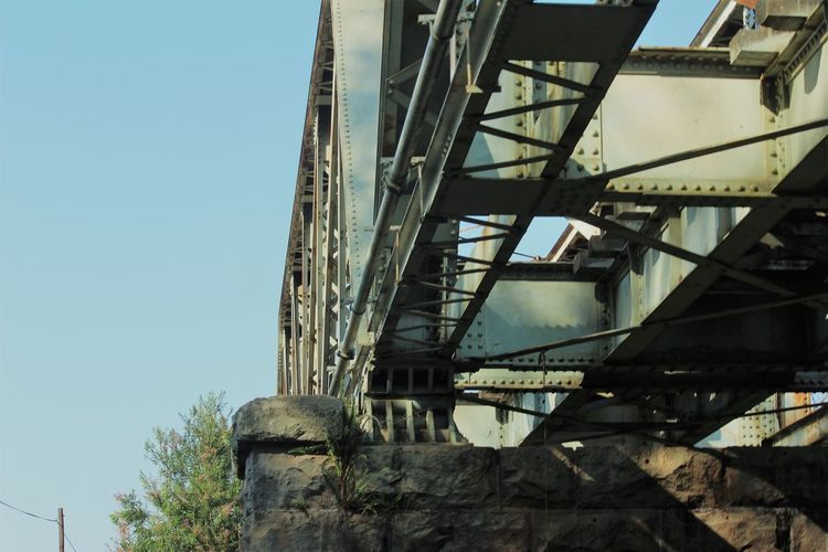 Architecture Built Structure Low Angle View No People Bridge Train Tracks Metal Old Run-down