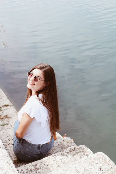 Croatia Retro Styled Travel Destinations Model Shooting Colorful Girl One Person Water Real People Leisure Activity Long Hair Lifestyles Casual Clothing Women Young Women Day Hair Hairstyle Sitting Lake Young Adult Beauty Nature Beautiful Woman Contemplation Outdoors