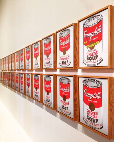 Exhibited ArtWork Campbells Soup Cans Andy Warhol Moma Fondation Louis Vuitton  Red No People Indoors  Day