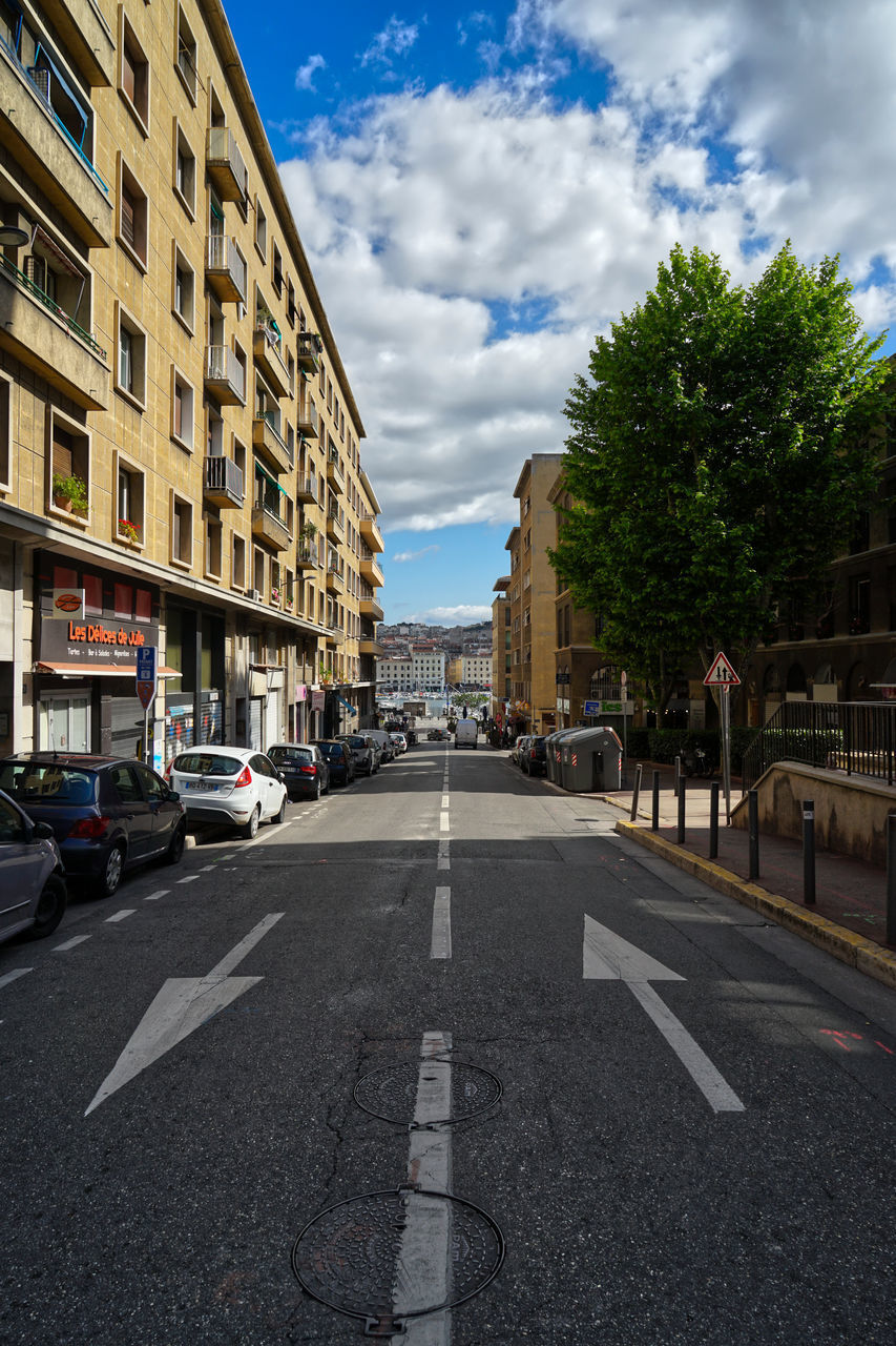 SURFACE LEVEL OF ROAD BY BUILDINGS AGAINST SKY