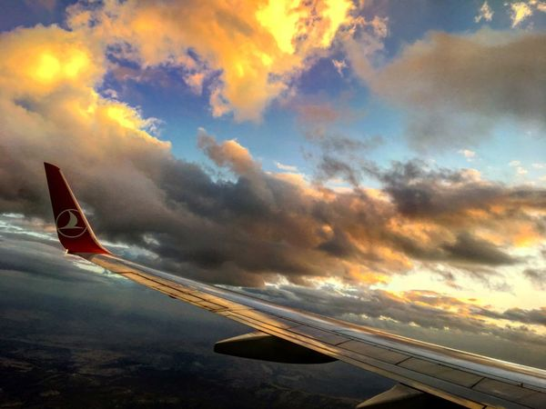 Airplane Transportation Sky Cloud - Sky Sunset Mode Of Transport Journey Air Vehicle No People Aircraft Wing Airplane Wing Flying Travel Outdoors Nature Day From An Airplane Window Somewhere In The Sky