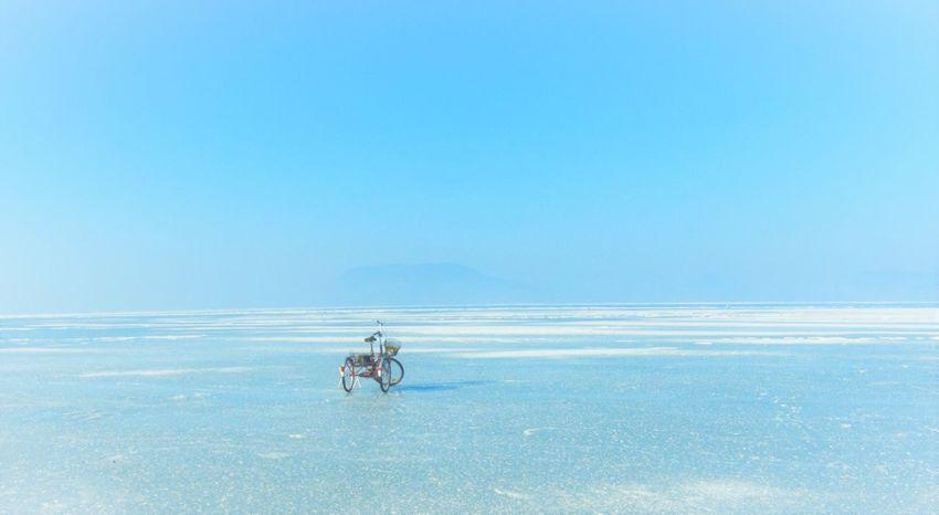 Beauty In Nature Bike Clear Sky Frozen Lake Ice Outdoors Sky Transportation EyeEmNewHere