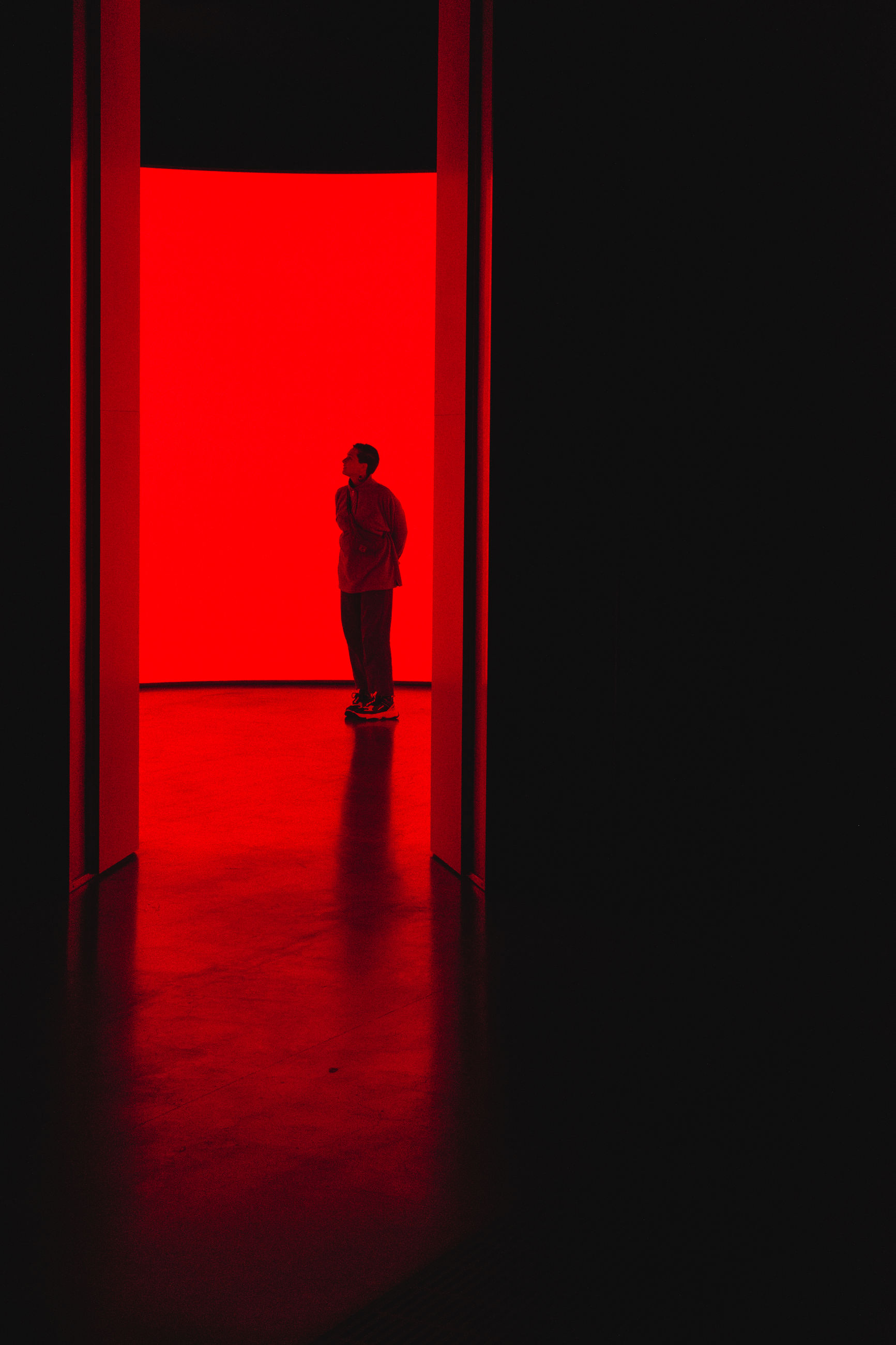 one person, red, real people, indoors, full length, standing, entrance, men, door, copy space, architecture, lifestyles, light - natural phenomenon, building, leisure activity, stage - performance space, wall - building feature, illuminated, domestic room, dark, stage, contemplation