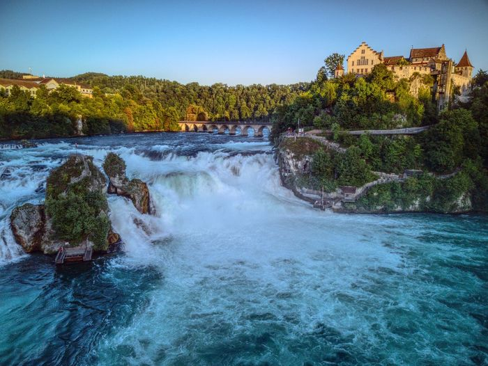 Water River Beauty In Nature Travel Destinations Waterfall Outdoors Rheinfall Drone  Dronephotography Mavic Schaffhausen Golden Hour Nature Clear Sky Tourism Droneshot Power In Nature Myswitzerland