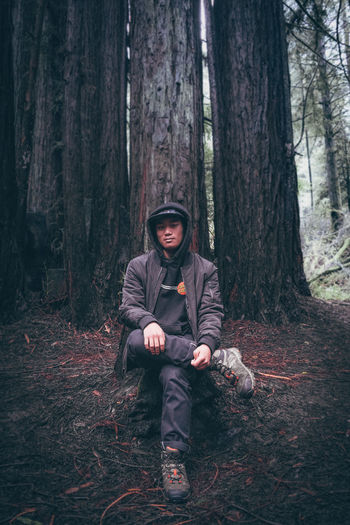 Adult Adults Only Autumn Day Forest Human Body Part Men Nature One Man Only One Person Only Men Outdoors People Tree Warm Clothing Young Adult