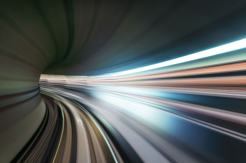 Blurred motion of light trails on tunnel