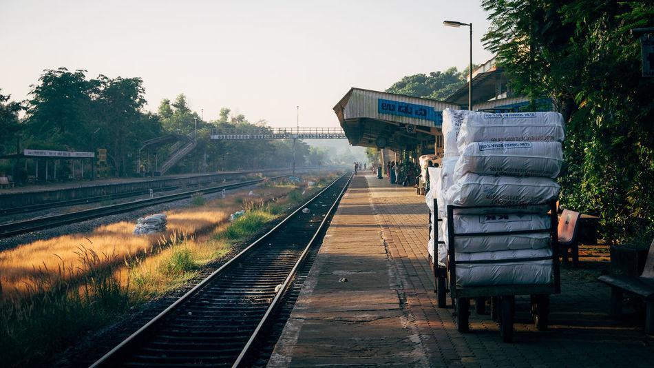 Early morning at an Indian train station (Udupi - Karnataka) Udupi India Indiapictures Lonelyplanetindia Travel Photography Traveling Karnataka Karnatakaisbeautiful Beautifulindia Train Station Udupistation Klaquax_India