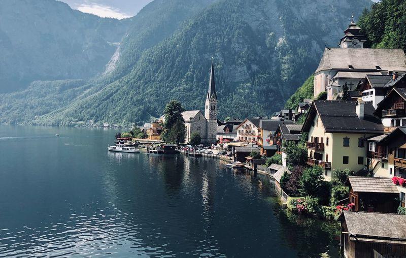 Buildings In Town By Lake