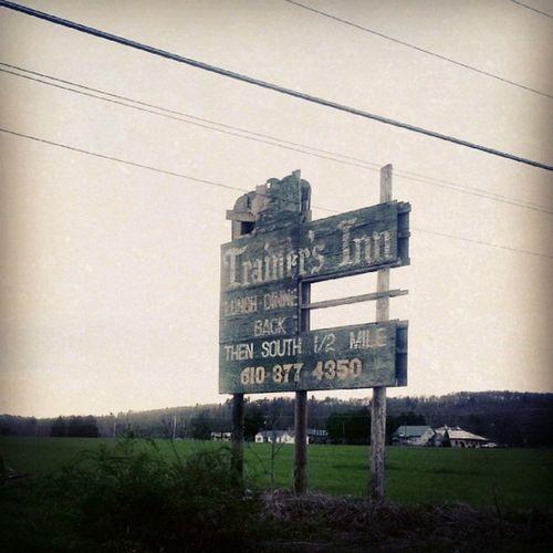 Trainers Inn Sign Broken Dryrot Chipped paint handlettered billboard old advertising sutro field farm backroads restaurant odd