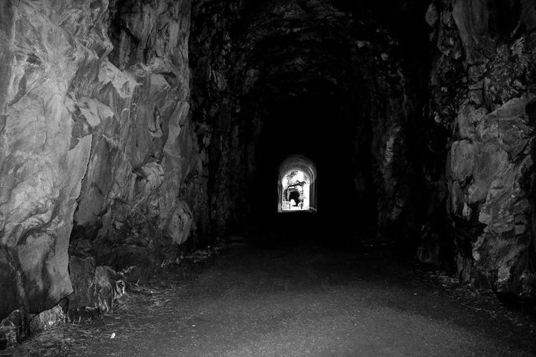 Dark Tunnel Illuminated Built Structure Travel Blackandwhite Canonphotography Travel Destinations British Columbia