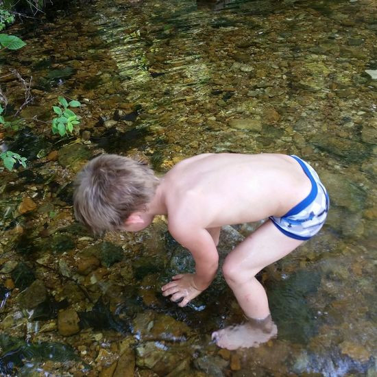 👫 Grandkids 💙💛💜 💯 Country Life Summer Standing Preschooler Fun💕 Missouri Ozarks, USA 💥💖 Family 🙏🙌 Water Swimming Child Childhood Full Length Boys Happiness Blond Hair Males  Smiling Ankle Deep In Water Wading
