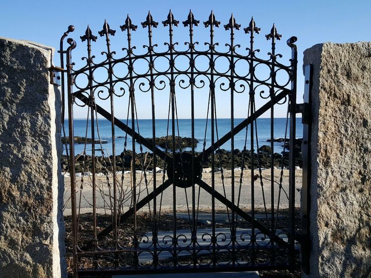 Gateway to the sea. Wrought Iron Gate Sky Marginal Way Close-up Coastal Views By The Sea No People Horizon Over Water Backgrounds Outdoors EyeEm Best Shots Maine Photography 🌲