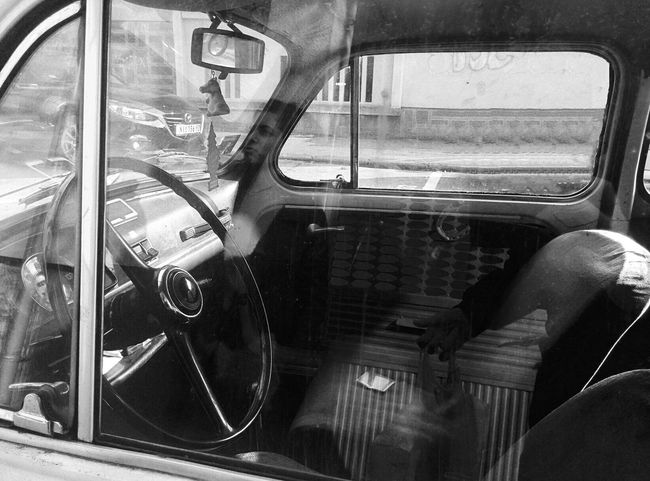 Blackandwhite Car Car Seat City Close-up Day Fiat 500 History Minimal Mode Of Transport Monochrome Old Car Oldtimer Reflection Small Car Transportation Travel Trip Vehicle Interior Wheel Window Mobility In Mega Cities