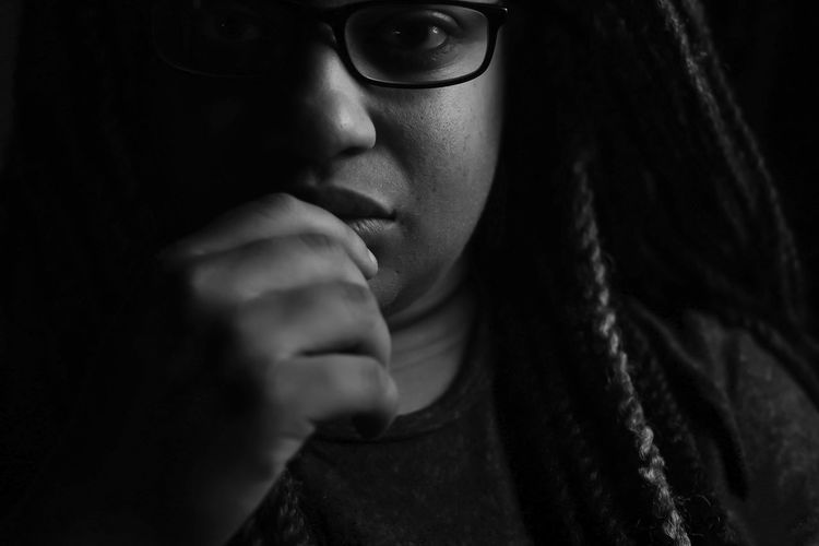 thinkher Thinking Beauty Beautiful Woman Hand Natural Beauty Natural Hair Twists Glasses Straight Face Black Blackandwhite African American African American Woman This Is My Skin Young Women Black Background Women Headshot Shadow Depression - Sadness Dark Close-up Human Lips Introspection