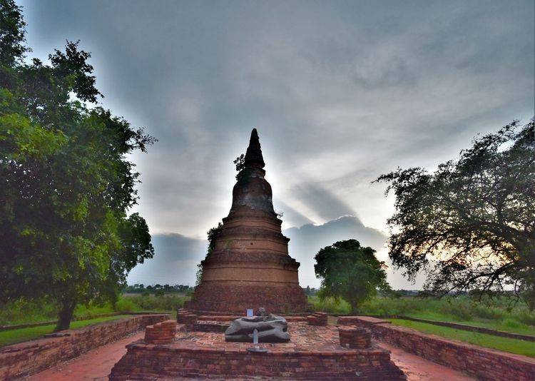 Sunset_collection Pagoda Temple Pagoda Building Cloud - Sky Light Thailand Sunlight Archaeological Site Of Thailand Wat Phra Ngerm Ayuttaya Thailand Religion Cultures Statue Architecture Historic