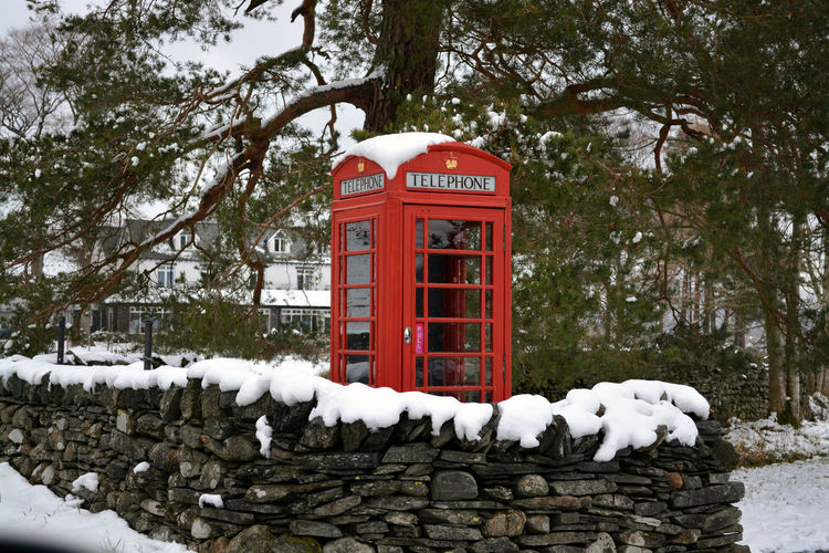 Red Phone Boxes Red Phone Box Cold Temperature Communication Pay Phone Red Red Phone Red Phone Booth Snow Telephone Booth Winter
