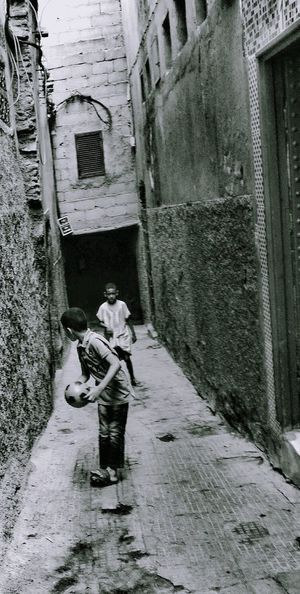 Medina Day People Outdoors Real People Rear View Boys Playing Football Blackandwhite Photography Hidden Game EyeEmNewHere