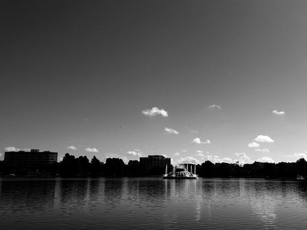 Lake Eola Park Downtown Orlando Florida Water Lake View City Life The City Beautiful No People Sky Blackandwhite USA Hanging Out Taking Photos Lake Life Beauty In Nature Lake Eola Park Cloud Outdoors Tranquil Scene Landscape