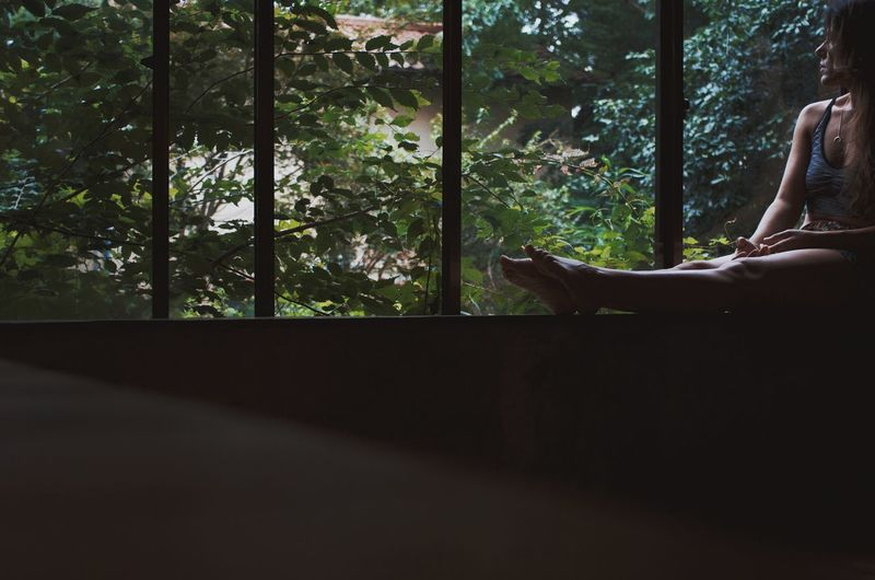 Man sitting by window in forest