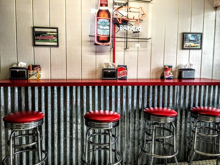 Old Time Diner. JustGPhotos Diner Red And White Chairs Food Bar Be Que Hushpuppies Beer Budweiser Bar Stools