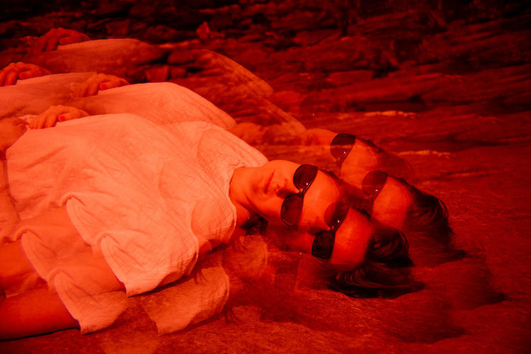Future Eyes Lens Lomography Prism Prism Art Redscale Red Filter Red People Men Lying Down Bed Real People Lifestyles Furniture Indoors  Emotion Night Adult Relaxation Two People Sleeping High Angle View Mid Adult Full Length Orange Color