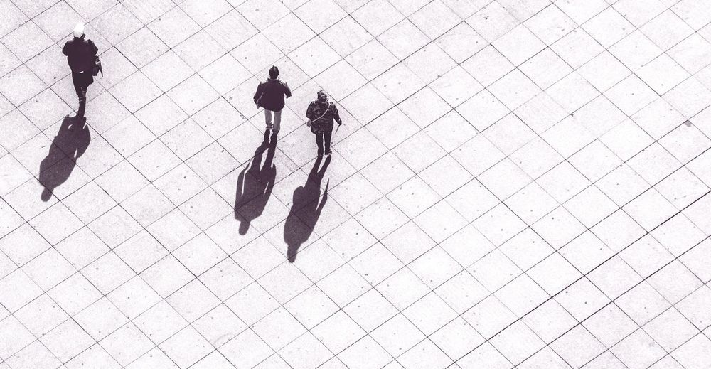 High angle view of people outdoors